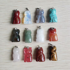 Mixed Natural carved stone Cat pendants charms for jewelry 12pcs/lot wholesale