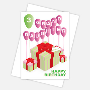 Granddaughter birthday card, personalised any name & age, A5 size