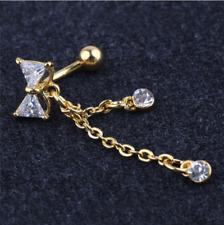 Reverse Belly Button Ring  Bowknot Clear Rhinestone Navel Bar Body Piercing