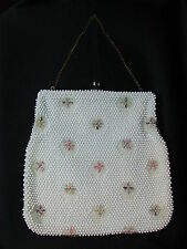 "Vintage Purse Corde Bead White Beaded Purse 9"" X 9"""