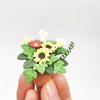 Mini Dollhouse Miniature Green Plant Flower In  Pot Fairy Garden Accessory