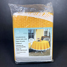 Vintage Lidl Outdoor Table Cloth Round Yellow Garden Dining Summer Wipeable NEW