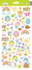 Doodlebug Icon Stickers Fairy Garden Fairies Birds Bees Rainbows Sun Mushrooms
