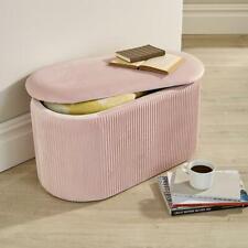 Aurora Velvet Blush Ottoman Storage Box Pouffe Stool Footstool Storage Bench