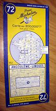 Carte MICHELIN N° 72 - Angoulême - Limoges 1955