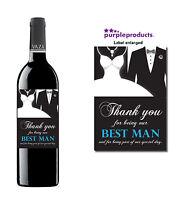BEST MAN WEDDING DAY THANK YOU WINE BOTTLE LABEL GIFT