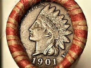 Wheat/Indian Head penny roll with 1909VDB & FULL LIBERTY 1901 Indian head ends!