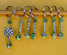 Stitch marker, knitting 6+1 ,  stone, pewter and cloisonne beads