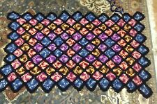 BRT Beautiful Vintage Hand Crafted Crocheted Granny Throw Rug Blanket Bed Spread