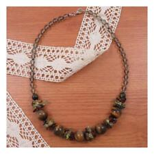"""18"""" Tigers Eye Natural Stone Necklace Chunky Healing Festival Statement Yoga 198"""