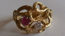 Unique One Off, superb 50's, 14ct yellow gold, ruby, diamond ring, sz 8.25, 6.7g