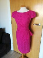 Ladies PER UNA Dress Size 12 Pink Broderie Anglaise Wiggle Pencil Party Evening