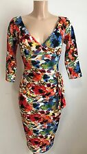 *BEAUTIFUL RED FLORAL TEXTURED PLUNGE NECK BODYCON WIGGLE DRESS SIZE 12-18*