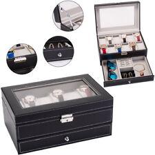 12 Slots Watch Box Mens Watch Organizer Lockable Jewelry Display Case Black