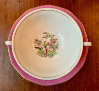 "2 Antique Myott, Son & Co. England ""Chelsea Bird"" Pink Flat Cream Soup Bowl RARE"