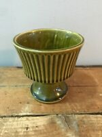 Mid Century USA Pottery Ceramic Stoneware Small Green Planter Pot Compote Vase