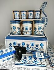 70s 80s Vintage Retro Worcester Ware Tudor Blue & White Set Enamel Tin Bread Bin