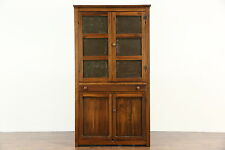 Primitive Antique Kitchen Pantry Pie Safe Cupboard, Punched Tin Doors