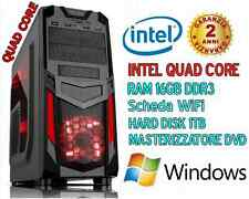 PC DESKTOP INTEL QUAD CORE/RAM 16GB/HD 1TB/COMPUTER ASSEMBLATO COMPLETO - WiFi