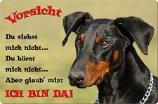 DOBERMANN - A4 Metall Warnschild SCHILD Hundeschild Alu Türschild - DBM 26 T2
