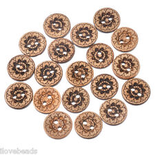 LOVE 50x 15mm Coconut Shell Two Holes Buttons Round Coffee Flower DIY Crafts