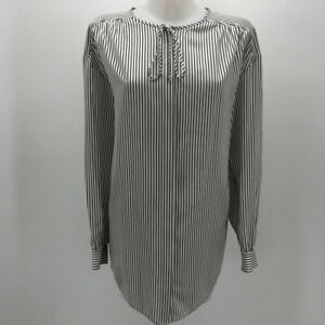 St John Black & White Striped Long Sleeve Blouse Size Small