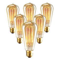 6Pack E26/E27 60W ST64 Edison Bulb Warm Filament Incandescent Light Energy Save