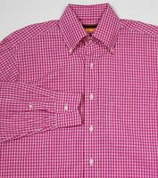 Davide Cenci Pink/White Checkered Handmade Cotton Dress Shirt (38) 15-33