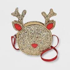 Cat & Jack Glitter Sparkle Gold Girl's Reindeer Crossbody Bag Holiday Christmas