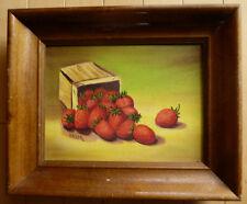 Vintage Oil Painting, Signed BAKER, MYSTERY ARTIST STRAWBERRIES FRUIT STRAWBERRY