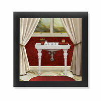 Red Bain II Pedestal Sink Black Framed Bathroom Art 12x12