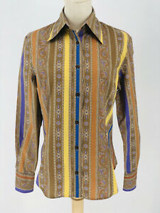 Etro Milano Blouse Womens 46EU 8/10 US Multi Paisley Stripe Long Sleeved Fitted