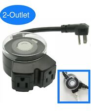 Outdoor Manual Timer 24 Hour Programmable 2 Outlet 3 Prong Automatic Switch