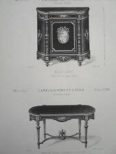 Meuble d'appui Table de salon bois noir cuivre doré GRAVURE AMEUBLEMENT  XIXéme