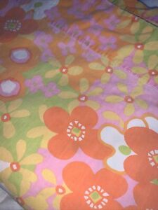 Vintage Wamsutta Lustercale Orange Pink Twin Flat Flower Power MCM MOD Sheet