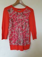 DKNY Silk Front Abstract Print Thin Knit Jumper Top Size M 10 12