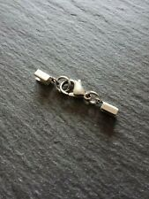 6 Stainless Steel FOLDING Crimp Ends for 2mm to 2.5mm Cord & 12mm Lobster Clasps