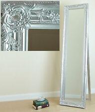 Portland Free Standing Cheval Roccoco Shabby Chic Long Mirror Silver 170cmx45cm
