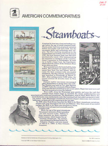 US. CP327. 2409a. Steamboats. Commemorative Panel With Sleeve. 1989