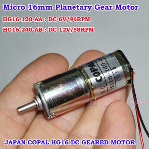COPAL HG16 DC 6V 12V Slow Speed Reducer Mini 16mm Planetary Gear Motor Robot Car