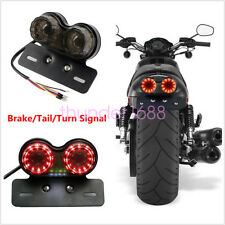 Motorcycle LED Twin Dual Tail Turn Signal Brake License Plate Integrated Light