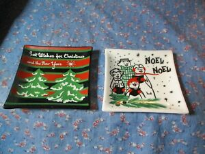 """Two Vintage Houze Glass Trays Christmas Best Wishes Noel   About 3 3/4 x 3 3/4"""""""