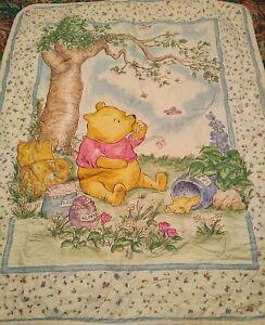 "Disney Classic Pooh Honey Pot Floral Crib Quilt Thin Comforter Coverlet-42""X 34"""