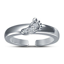 Footprints In The Sand Adjustable Toe Ring 14k White Gold Over Round Cut Cz