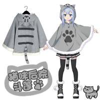 Neko Atsume Cute Cat Backyard Anime Kawaii Warm Cloak Sweater Hooded Coat Capes