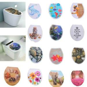 Toilet Seat Sticker Art WC Cover Removable Bathroom Decals Home Decors 32*39cm