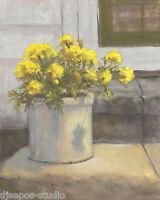 """Backporch Beauties, Marigolds"" Debra Sepos original oil 8"" x 10"" still life"
