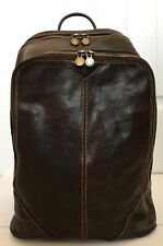 NWT*ALESSIA Genuine 100% Italian Leather Travel, Laptop Backpack-VERY DARK BROWN