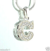 """C Letter Initial Charm Made With Swarovski Crystal Alphabet Pendant 18"""" Chain"""