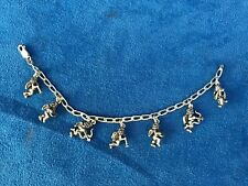 Italy 925 Sterling Silver 7 Charms Bracelet Angels